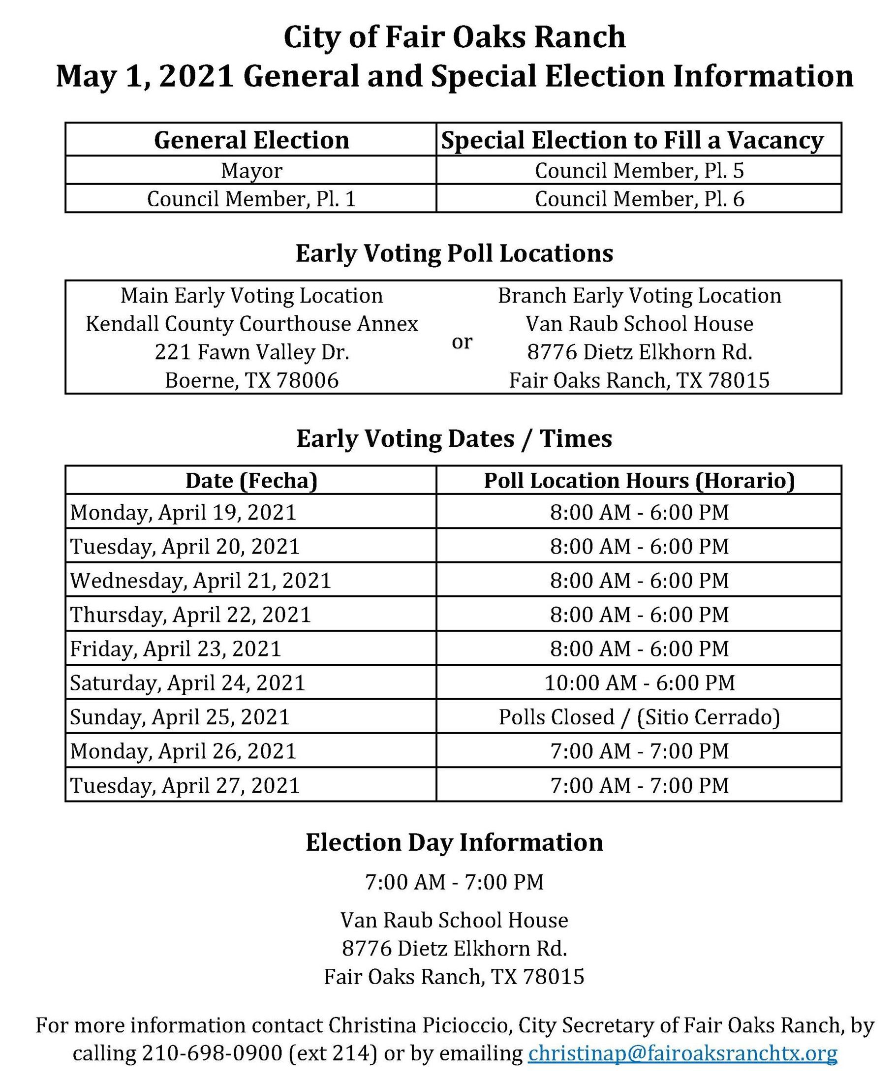 May 1, 2021 Election Schedule